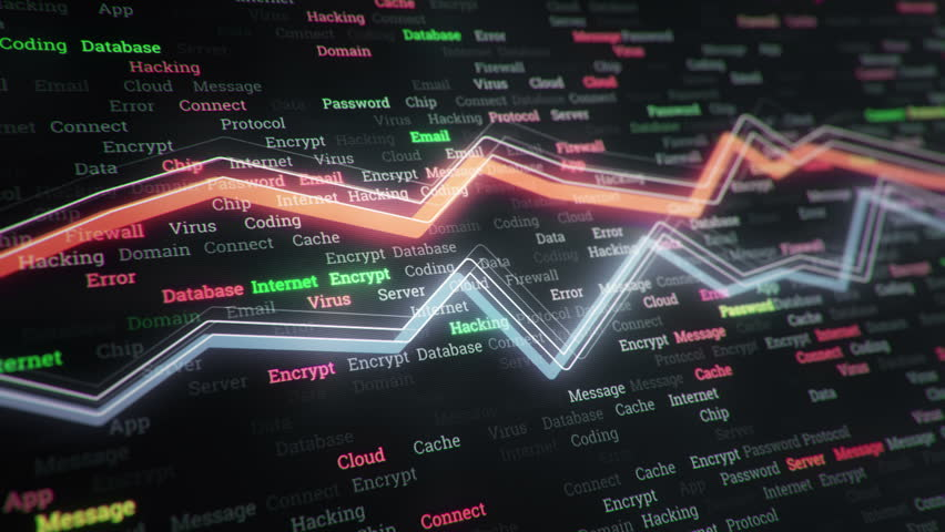 Technological background with growth of charts and graphs on binnary code backdrop. Symbols of business or finance with glowing glass surface. Seamless loop. | Shutterstock HD Video #23970334