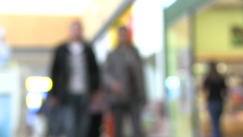 defocused people in mall