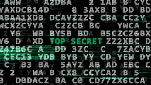 The secret code gets 3 words: password, top secret, secret code. Concept of cyber security.