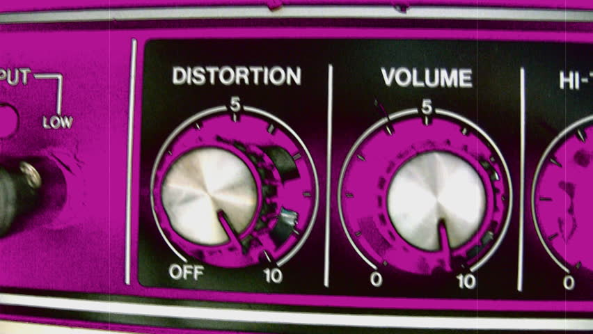 Bouncing volume and Distortion knobs set to 10 on guitar amp. Coloured pink and black.