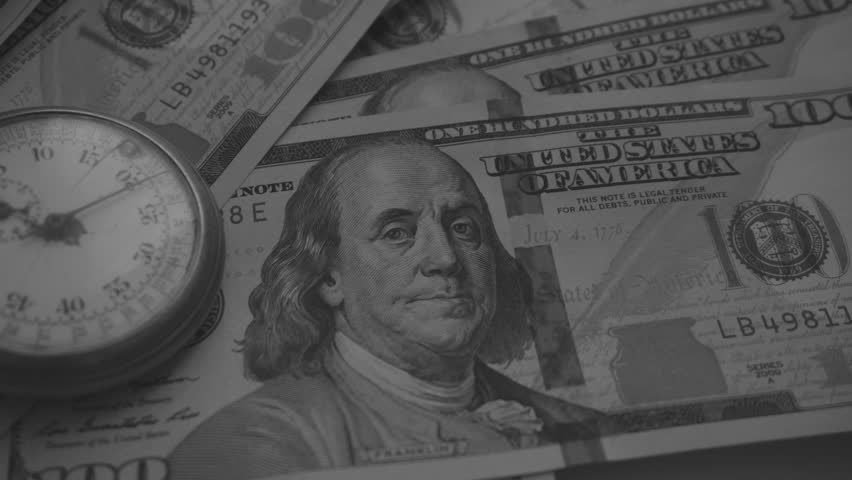 Time and Dollars. Close-Up Black & White Color   Shutterstock HD Video #24141334