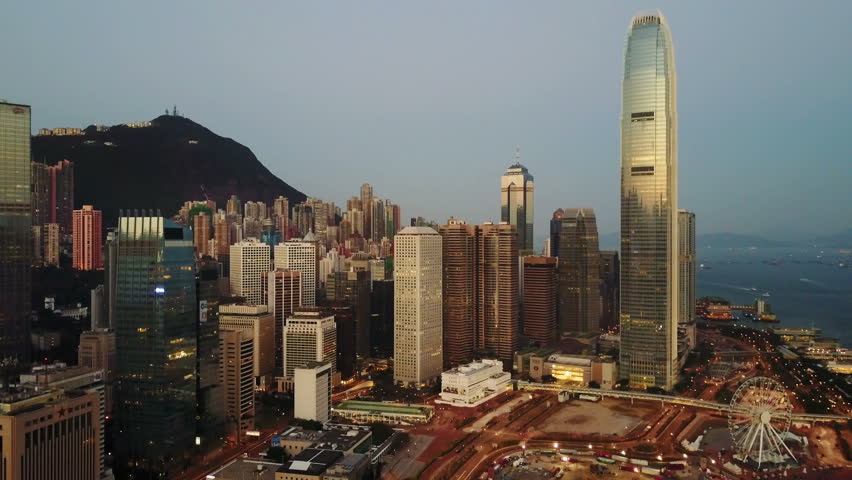 Aerial view of Hong Kong city at early morning time.