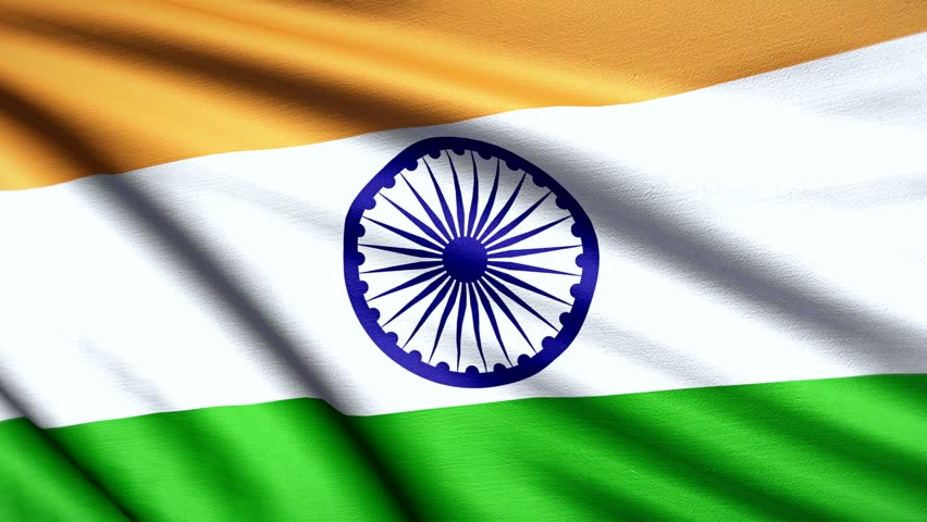 Indian Animated Flag Waving: Indian Flag Waving With Room For Text, Logos, Graphics And