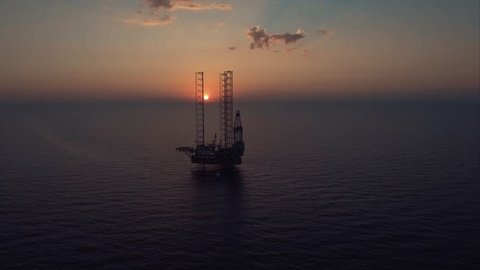 Flying to the oil platform above the ocean