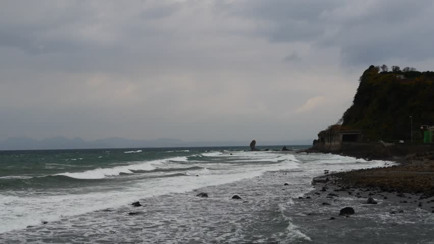 Rough sea and sea shore in Minamisimabara city Nagasaki prefecture, JAPAN. It is in December.