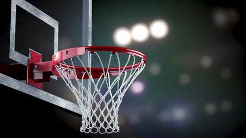 Throw in a basketball hoop on the background of spotlights, the ball is flying without touching the ring, loopable (4k, 3840x2160, ultra high definition, seamless loop)