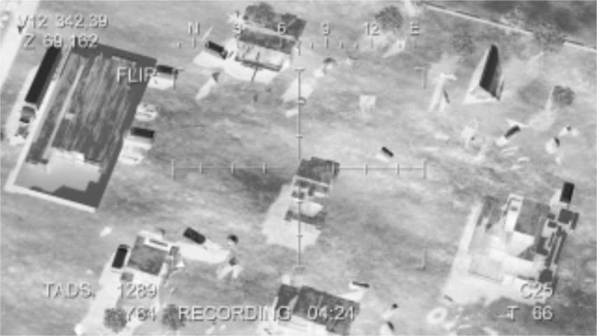 Missile hits the terrorist base, view from the drone. video quality is degraded specifically for more realism. 3d animation