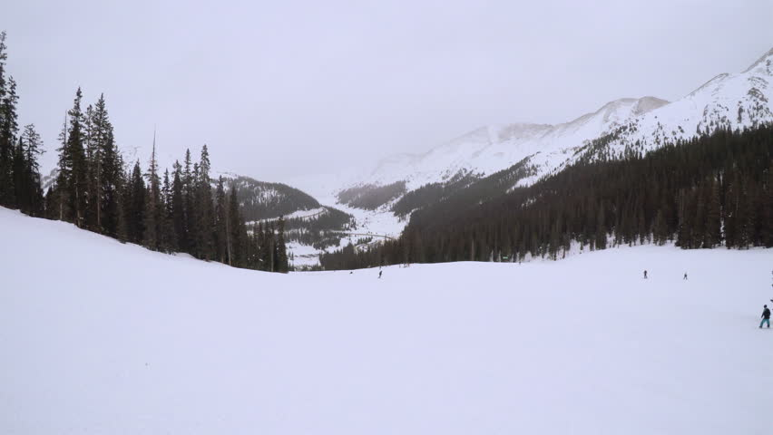 Alpine skiing at Arapahoe Basin ski resort.