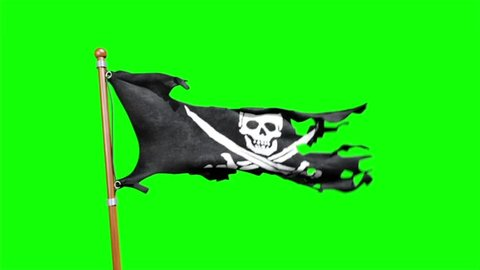 Pirate Flag Skull and Crossbones 3D Rendering Green Screen Animation