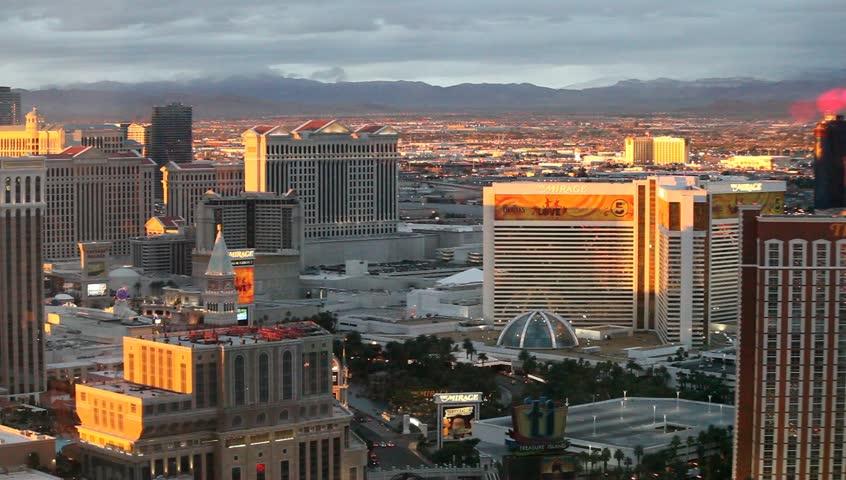 LAS VEGAS - FEBRUARY 17: Aerial panorama of Las Vegas Strip at night on February 17, 2012 in Las Vegas, Nevada.