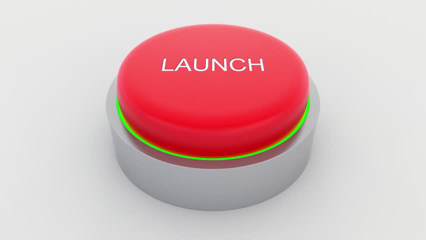 Big red button with launch inscription being pushed. Conceptual 4K clip | Shutterstock HD Video #24301394