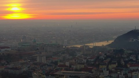 Aerial video shows the Buda castle in Budapest sunrise