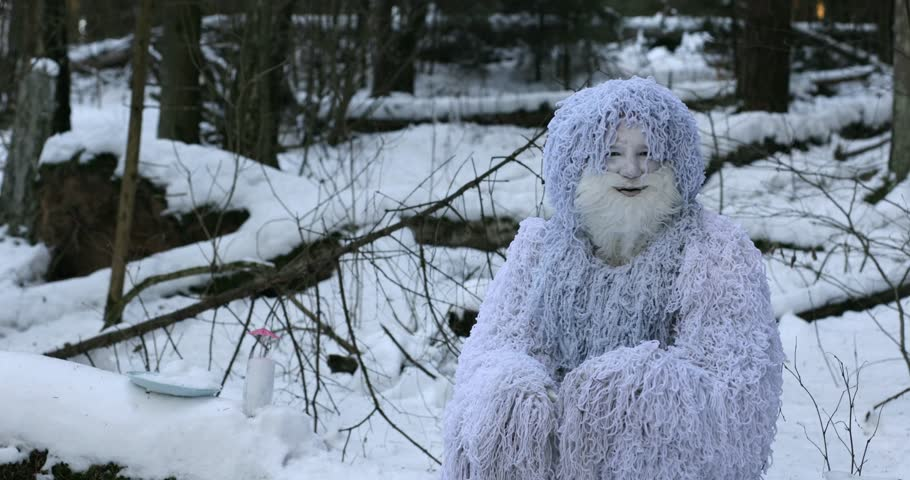 Yeti fairy tale character in winter forest. Outdoor fantasy 4K footage.