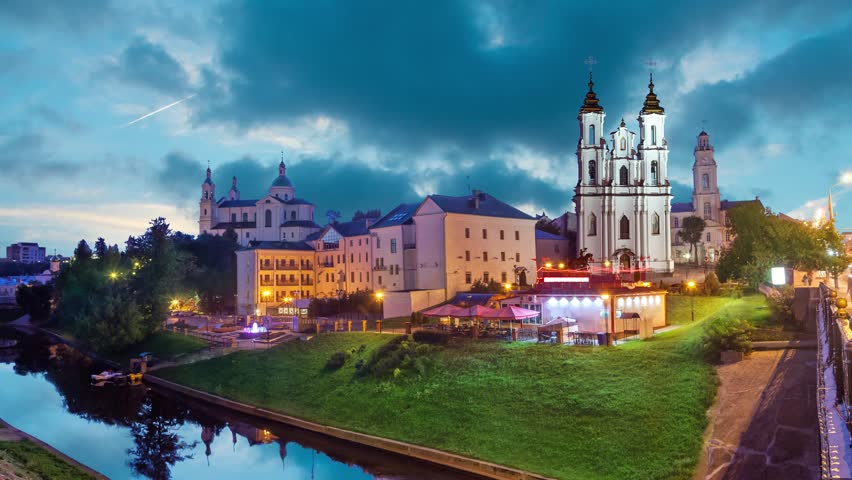 Resurrection church and buildings on the side of Vitba river in the evening, Vitebsk, Belarus  | Shutterstock HD Video #24365093