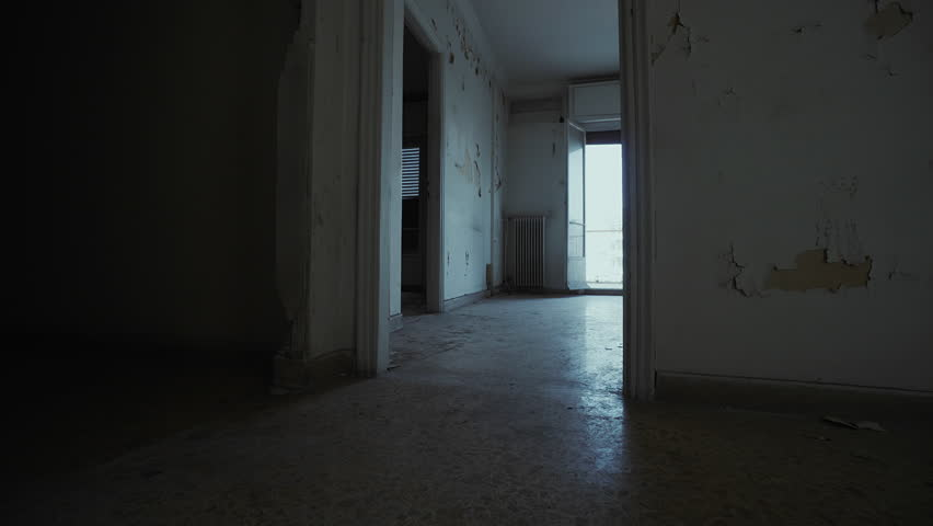 empty apartment inside. Empty evacuated broken house apartment  interior Panning inside a derelict abandoned city Evacuated Broken House Apartment Interior Inside A