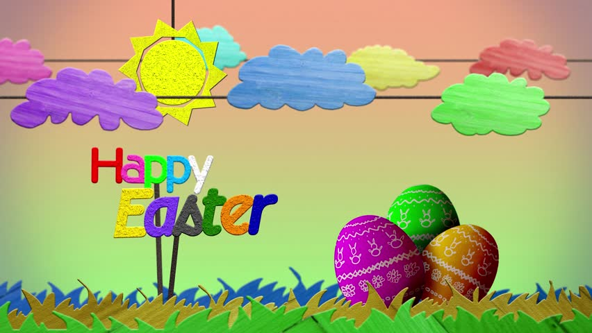 Happy Easter sign with colorful aminated clouds, grass, sun, and painted eggs.