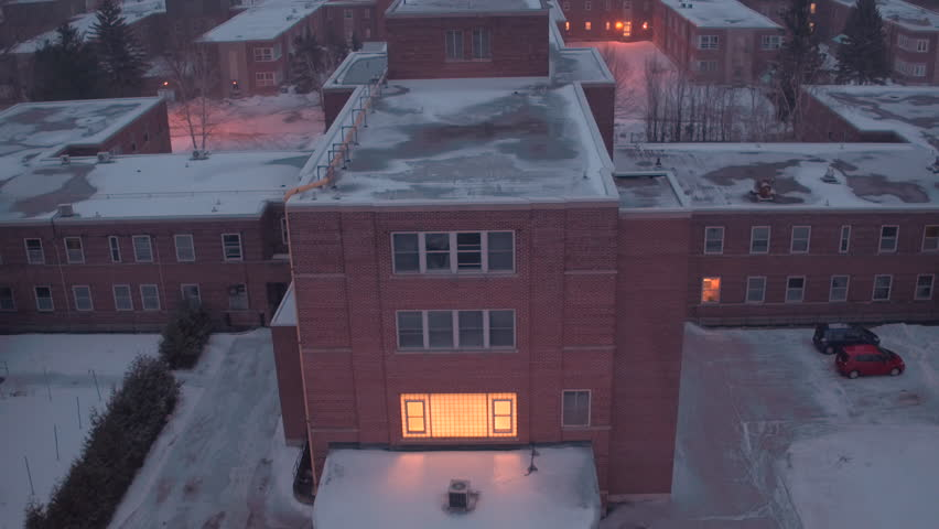Aerial view of hospital facility in the middle of winter | Shutterstock HD Video #24378734
