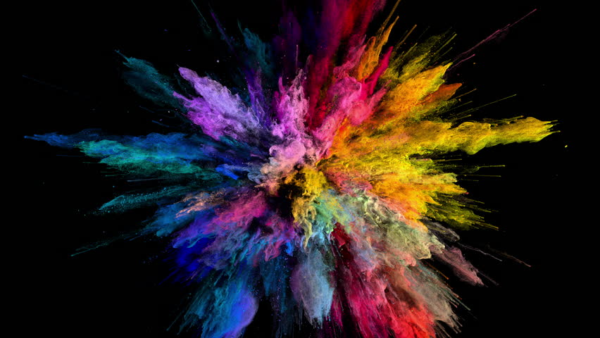 Cg animation of color powder explosion on black background. Slow motion movement with acceleration in the beginning. Has alpha matte #24419024