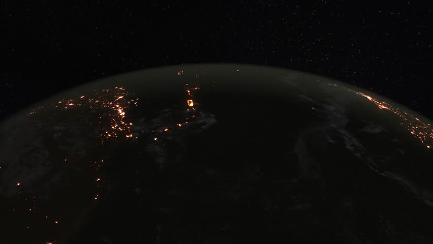 Loopable: Earth from Space. Simulated orbital space flight over the surface of the night planet Earth (America, Gulf of Mexico, Australia, Oceania and Africa). (av35963c) | Shutterstock HD Video #24446384