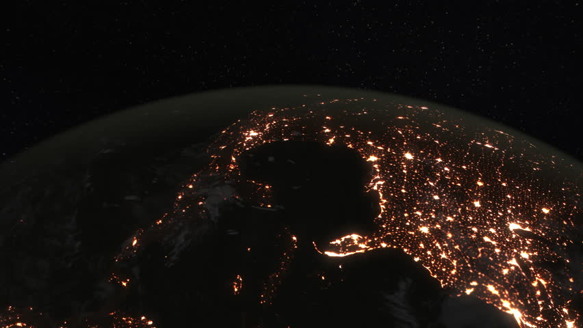 Loopable: Earth from Space. Simulated orbital space flight over the surface of the night planet Earth (America, Gulf of Mexico, Australia, Oceania and Africa). (av35963c)