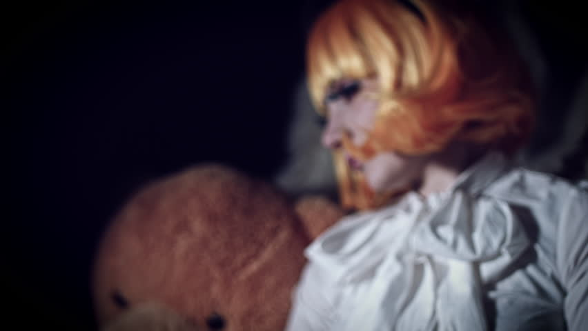 4K Halloween Shot of Doll Woman Turning Scary, color graded #24463574