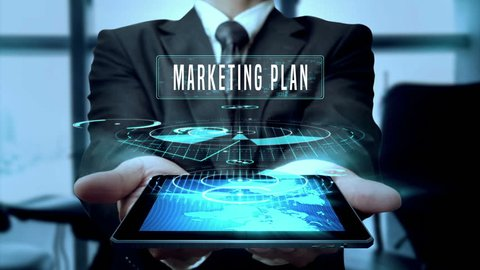 Marketing Plan Branding Campaign Solution Concept Businessman Using Hologram Tablet Technology - Loop