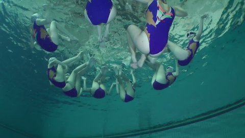 Synchronized swimming, team training, underwater.