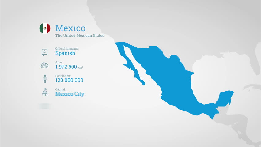 Animated Infographics Map With Country S Flag And Profile Mexico 4k Stock Video Clip