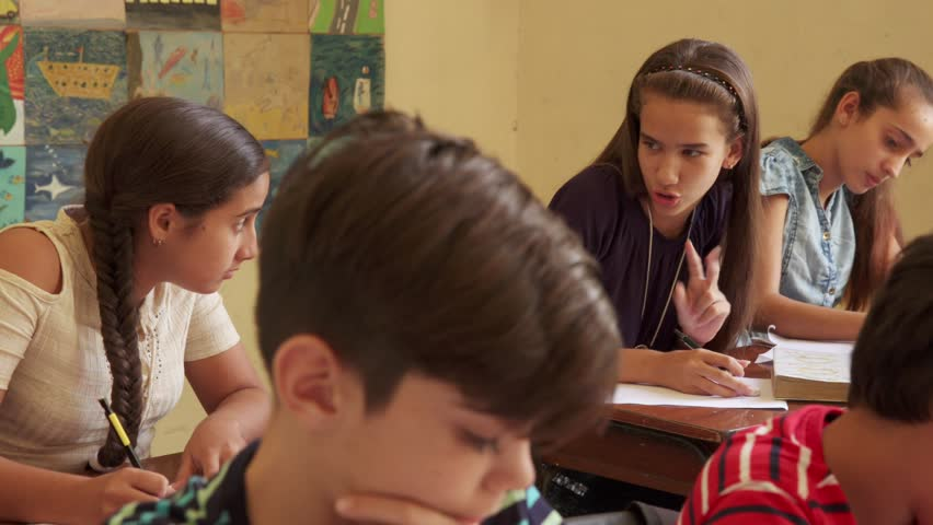 Young people and education. Group of hispanic students in class at school during lesson. Girls cheating during admission test, examination  | Shutterstock HD Video #24518384