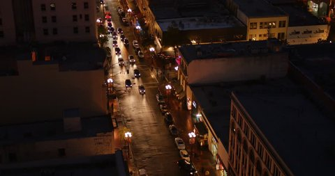 SAN DIEGO, CA - Circa February, 2017 - An aerial evening long shot view of traffic passing on 5th Avenue in San Diego's Gaslamp Quarter.