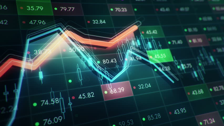 Abstract background with animation of growth graph of stock market on screen of trading board with abstract quotes tickers, words about business or technology, binary code. Animation of seamless loop. | Shutterstock HD Video #24539267