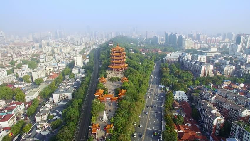 Aerial of Yellow Crane Tower ,Wuhan,china(huanghelou) | Shutterstock HD Video #24554654
