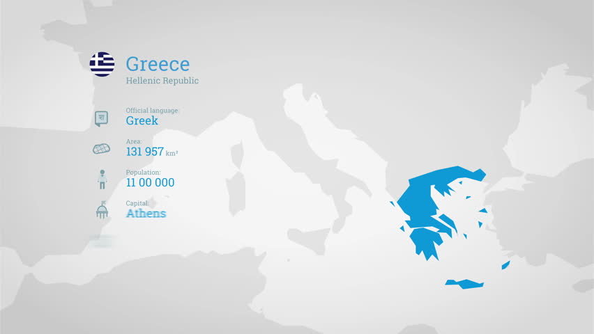 Animated infographics map with country's flag and profile. Greece