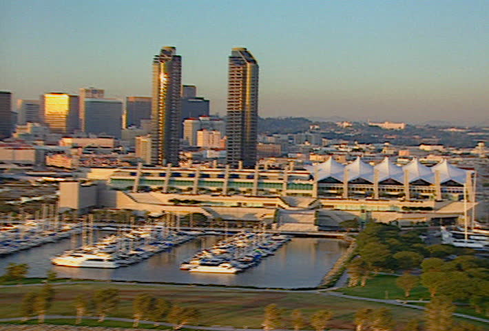 SAN DIEGO - Circa 2002: Aerial footage of downtown San Diego in 2002.
