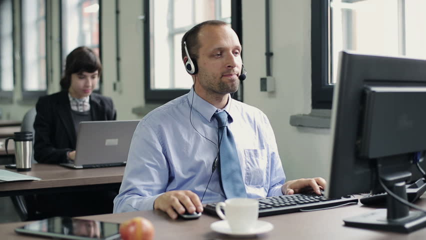 Friendly Happy Male Helpdesk Consultant Stock Footage Video ...