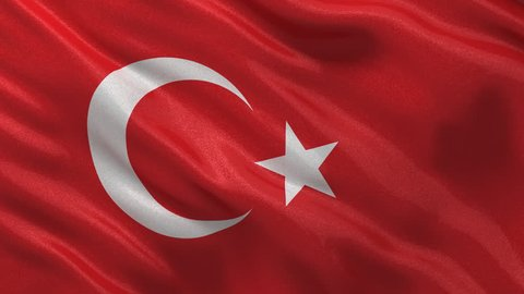 Seamless loop of the Turkish flag waving in the wind with highly detailed fabric texture