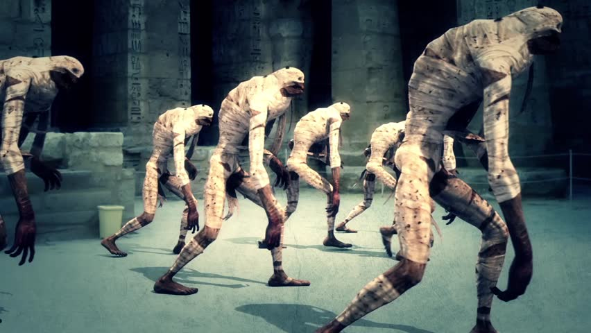 Hordes Mummies Walking Animated Background 3D Rendering Animation