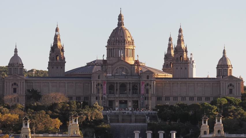 BARCELONA, SPAIN - DECEMBER 2016: View of the Catalan National Art Museum (Museu Nacional d'Art de Catalunya), and the Waterfalls Square (Placa de les Cascades)