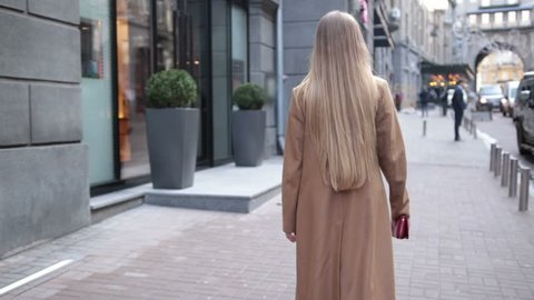 Back view of business woman walking on city street