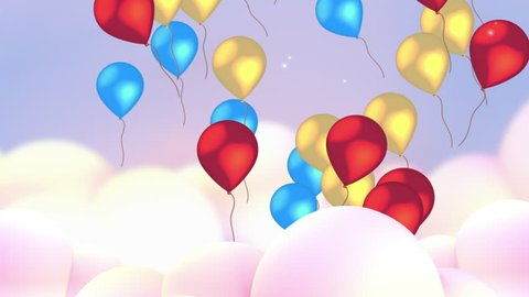 Colorful balloons flying up in the sky, passing through white clouds. Beautiful pastel color cloudscape background. Shining lights and sparkling particles. Happy Birthday party cartoon animation.