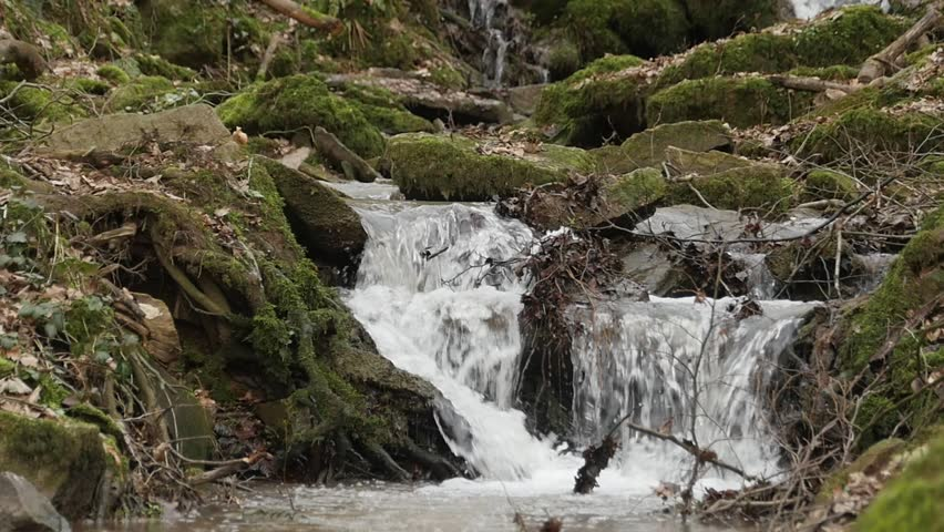 A slow motion shot of a river flow / waterfall in the Margarethenschlucht. Located in Germany, , in the Neckar Odenwald district. | Shutterstock HD Video #24655424