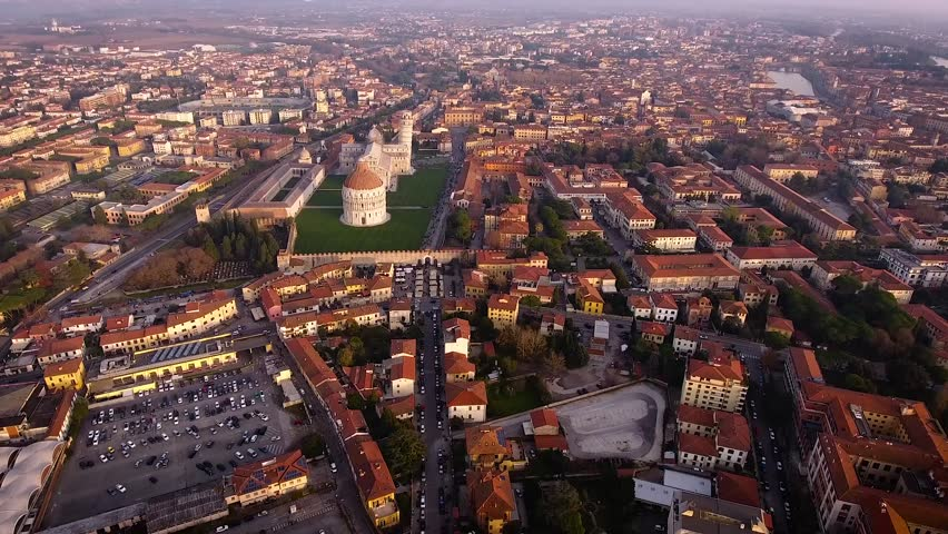 Aerial shot, Piazza dei Miracoli in Pisa city in Tuscany, Italy, filmed with drone, 4K | Shutterstock HD Video #24666104