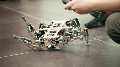 Broken hexapod DIY robot. 4K shot