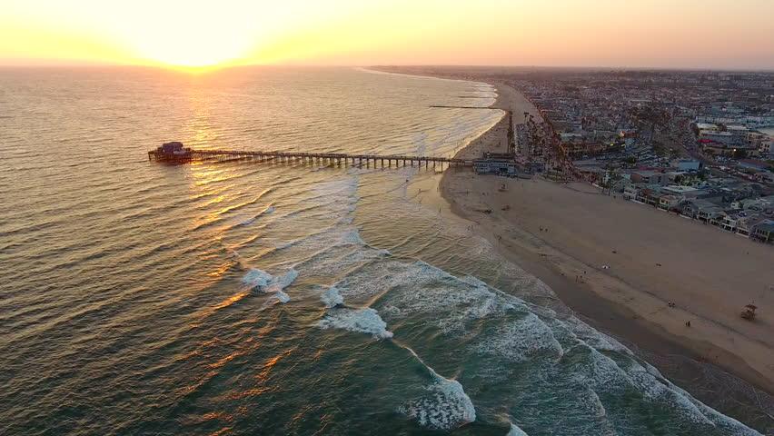 Sunset of Newport Beach pier California