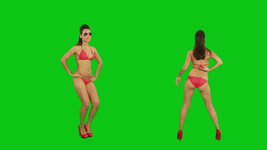 Beautiful young girl dancing against green screen  | Shutterstock Video #2469725