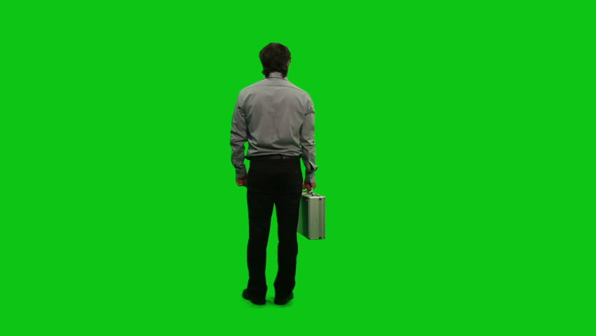 Businessman with a briefcase. Green Screen.