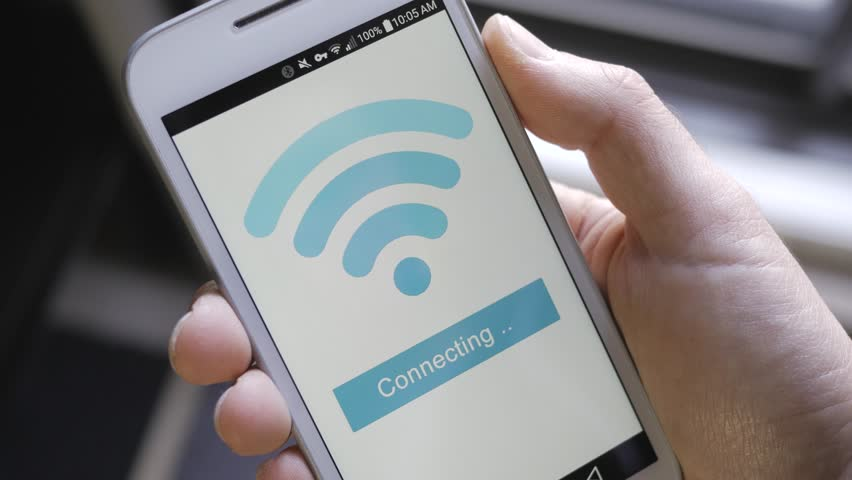 Smartphone connecting itself to the wi-fi network.