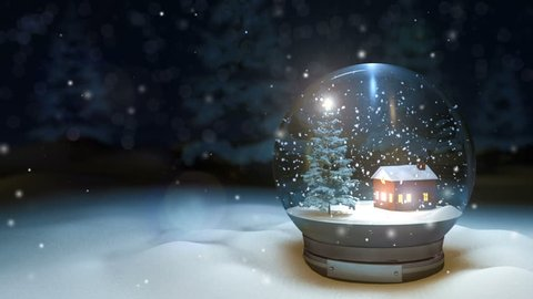 looping 3d rendering of Christmas Snow globe Snowflake with Snowfall with  pleasant background