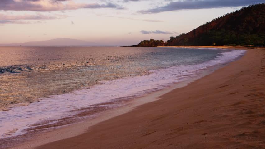 Surf at Shore during Golden Hour at Makena Beach Maui Hawaii