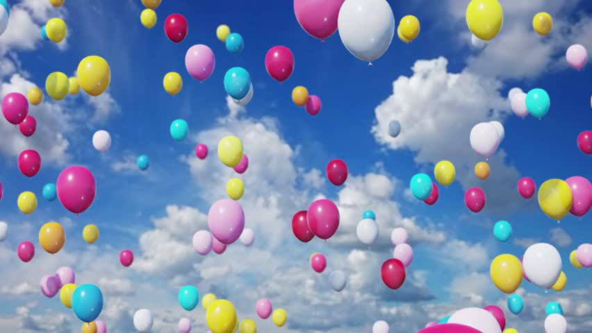 Lots Of Balloons Floating Up Into The Sky Stock Footage Video